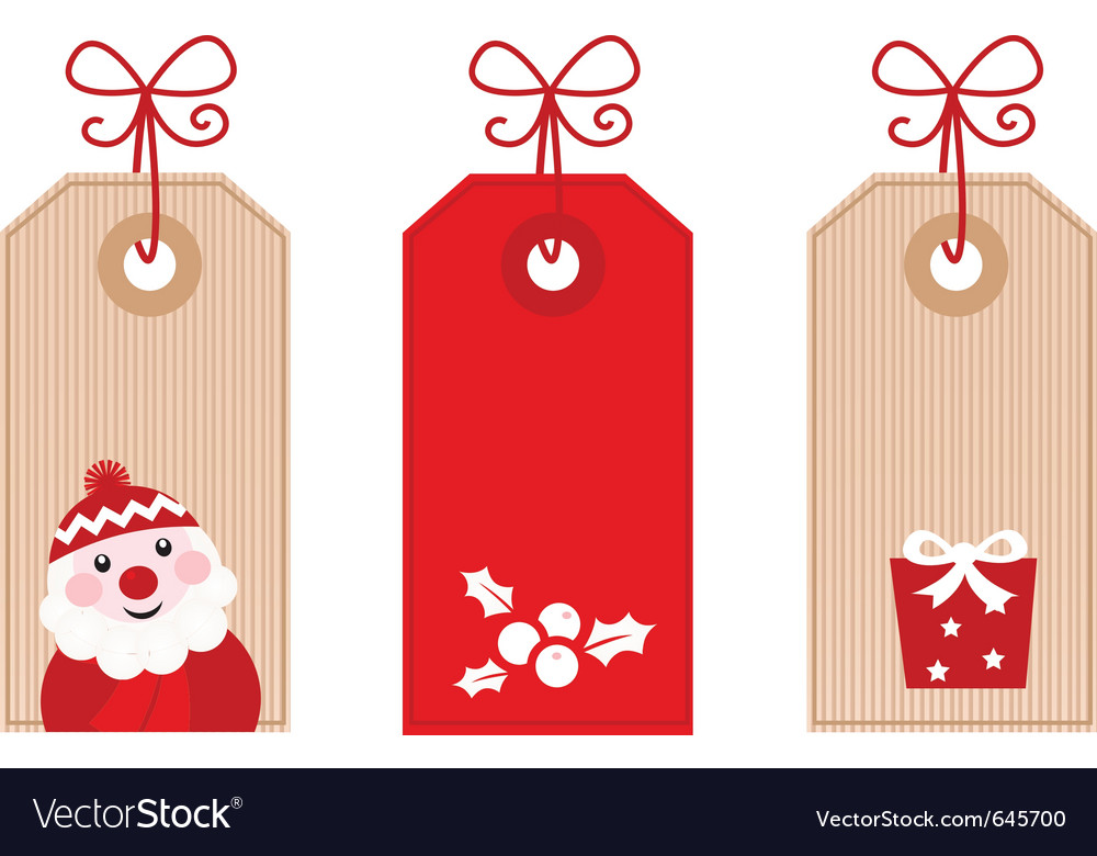 Retro christmas gift tags vector