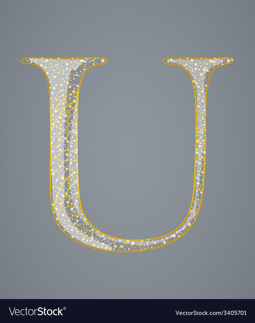Abstract golden letter u vector