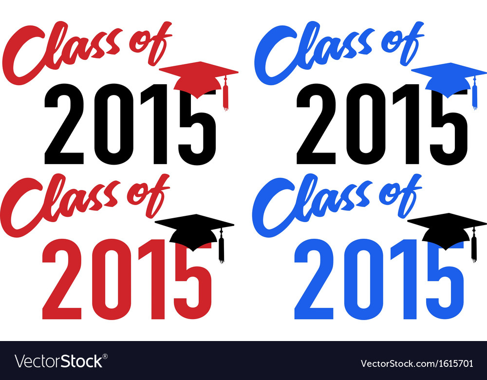 Class of 2015 school graduation date cap vector