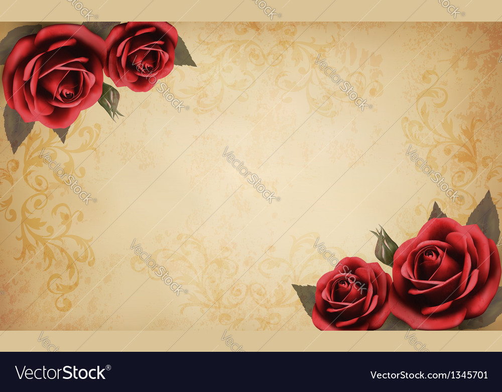Retro background with beautiful red rose and old vector