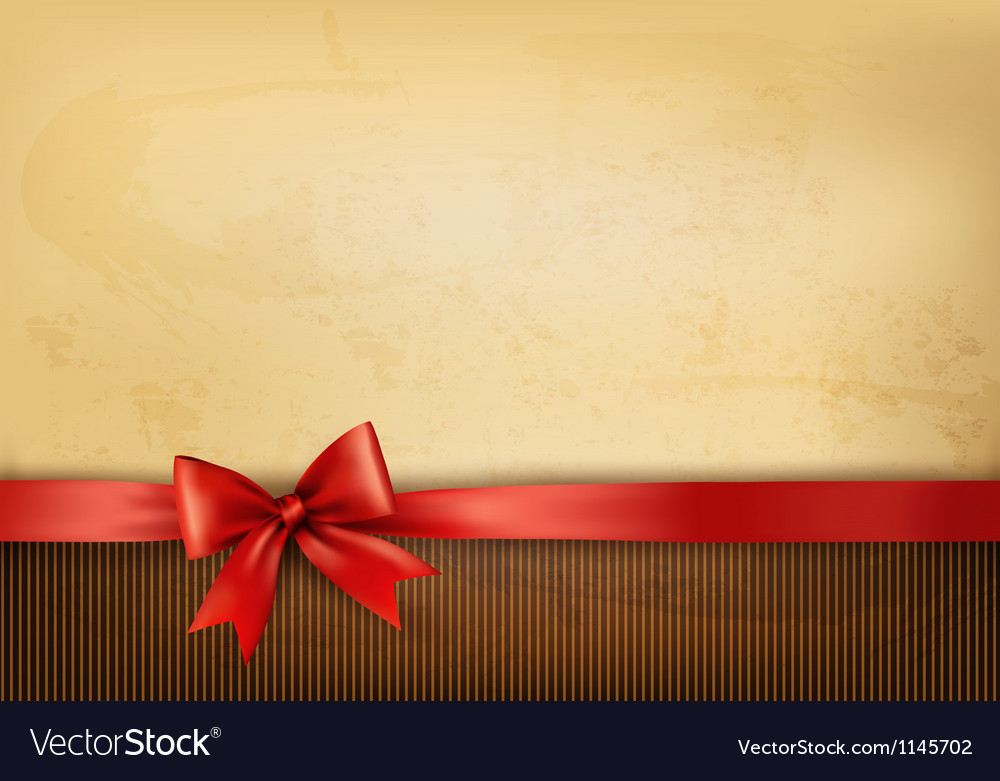 Old background with red bow and ribbon vector