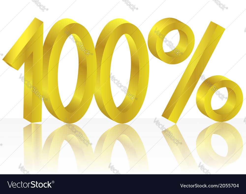 Gold one hundred percent vector