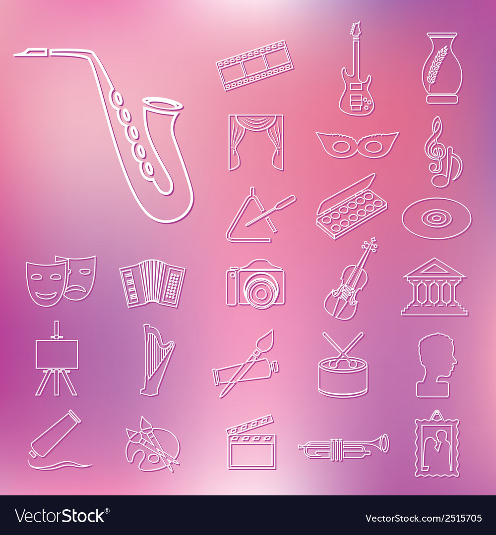 Art and culture outline icons vector