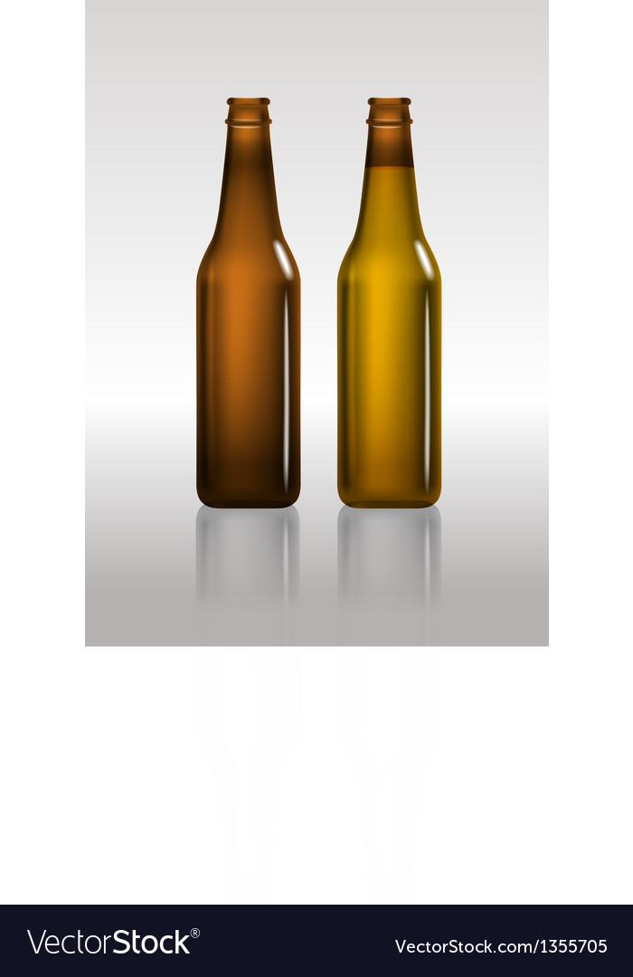 Full and empty brown beer bottles vector