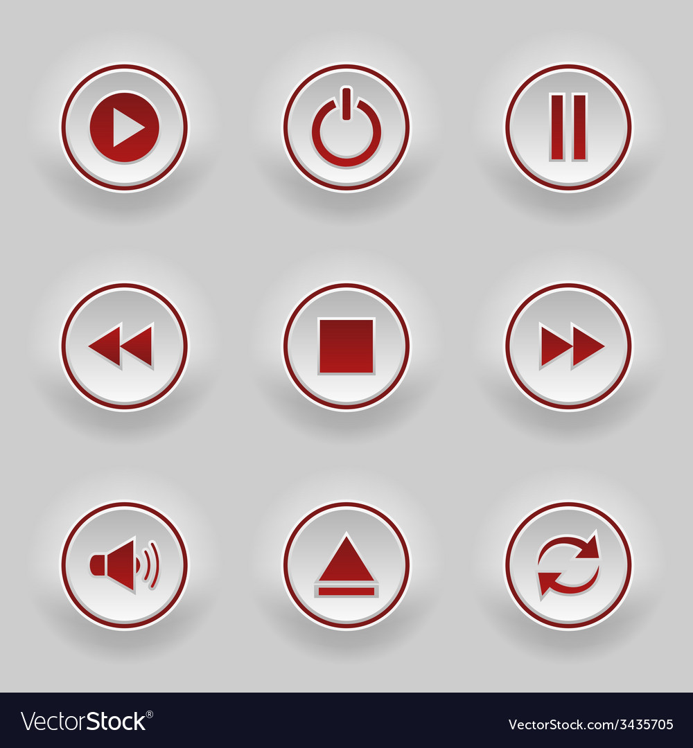 Red round buttons for web player vector