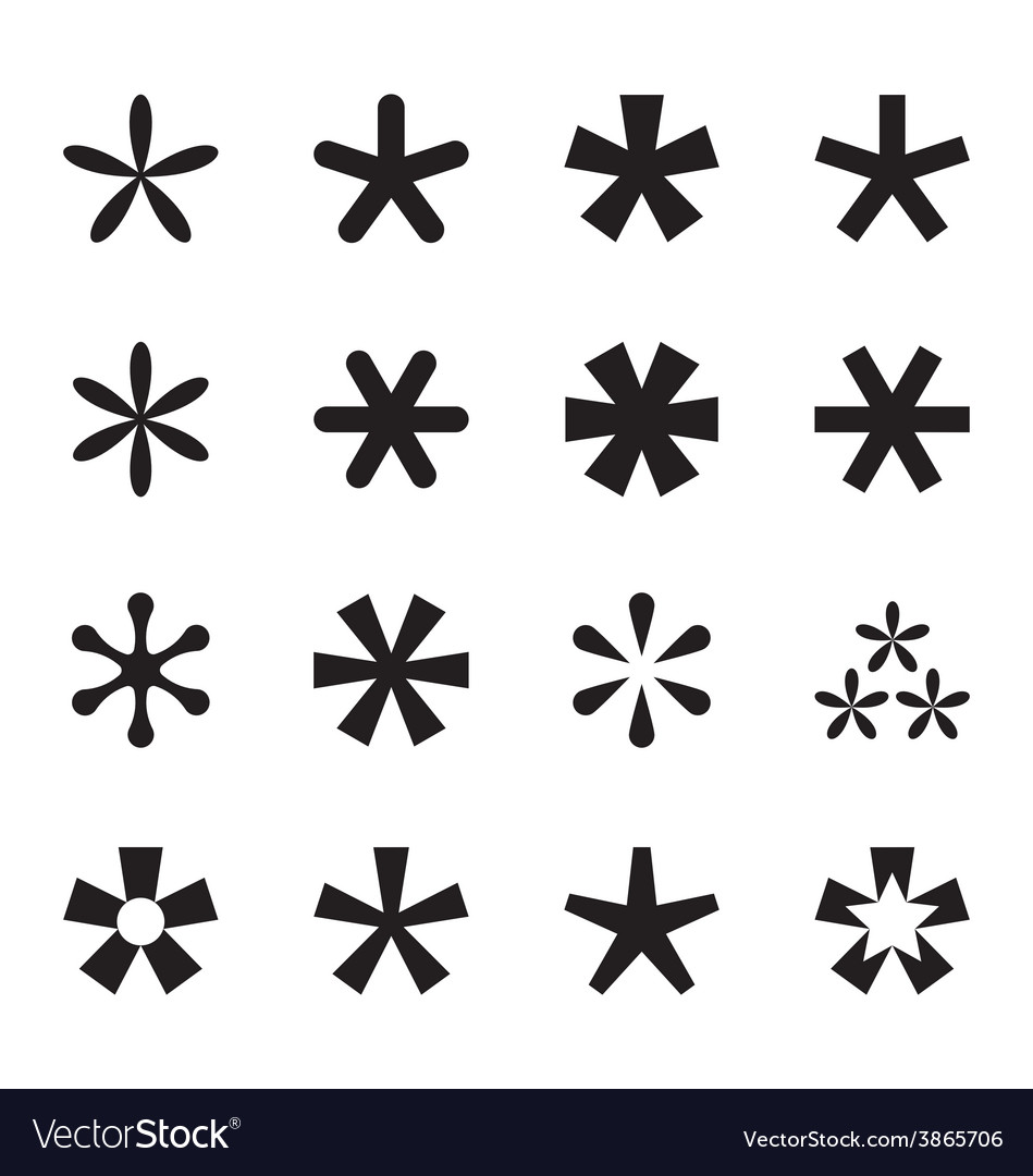 Asterisk footnote star icon set vector