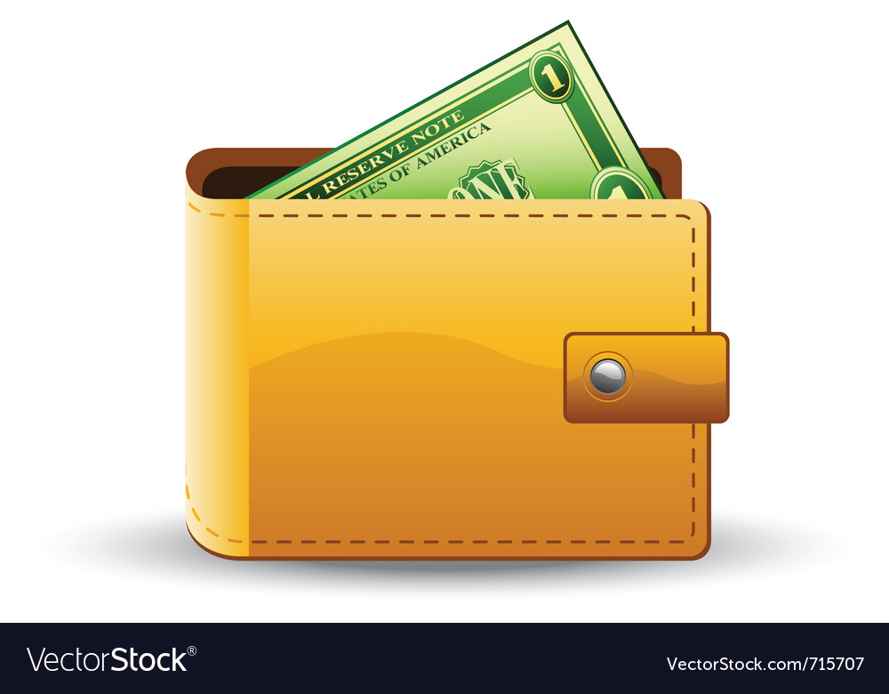 Wallet with dollar vector