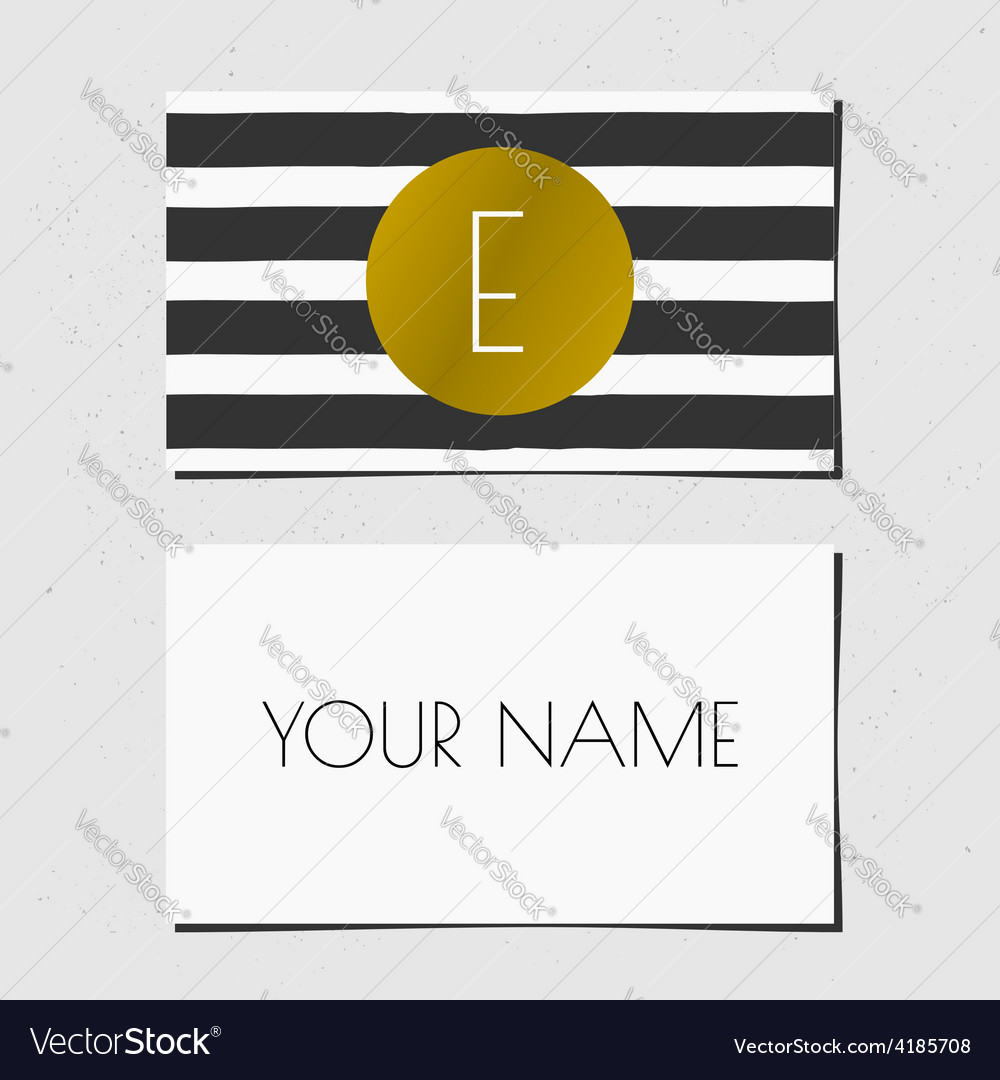 Business card template in golden black and white vector