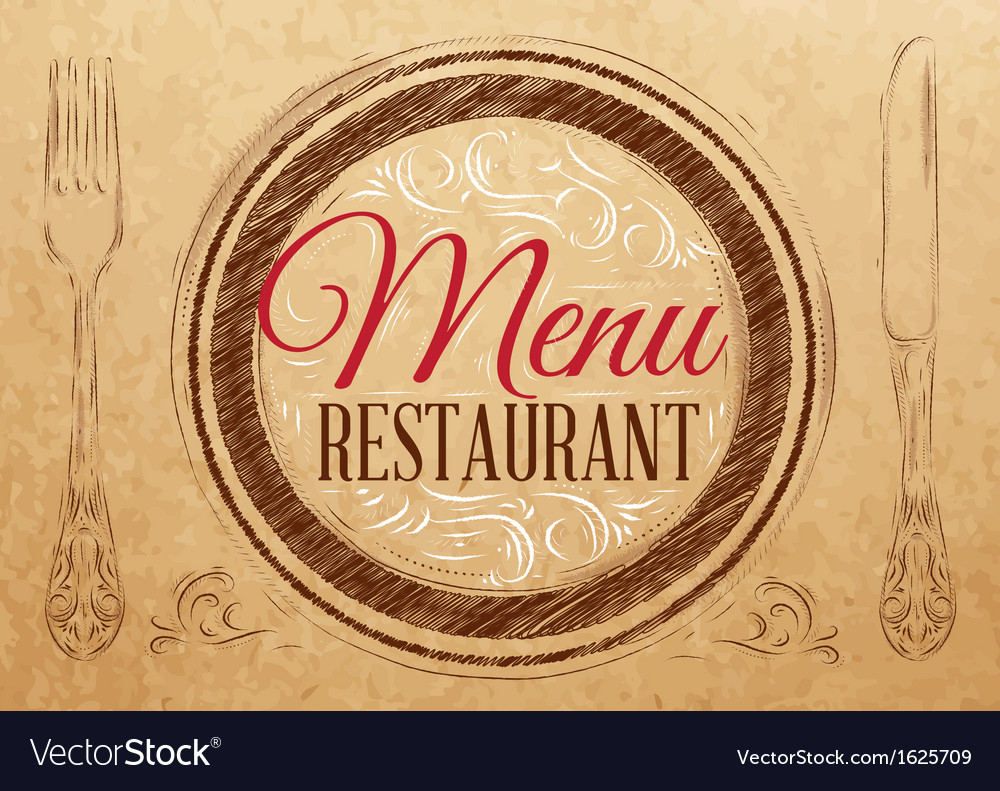 Menu restaurant kraft vector