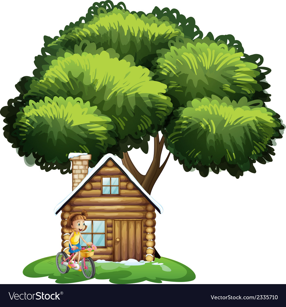 A young girl biking outside the house vector
