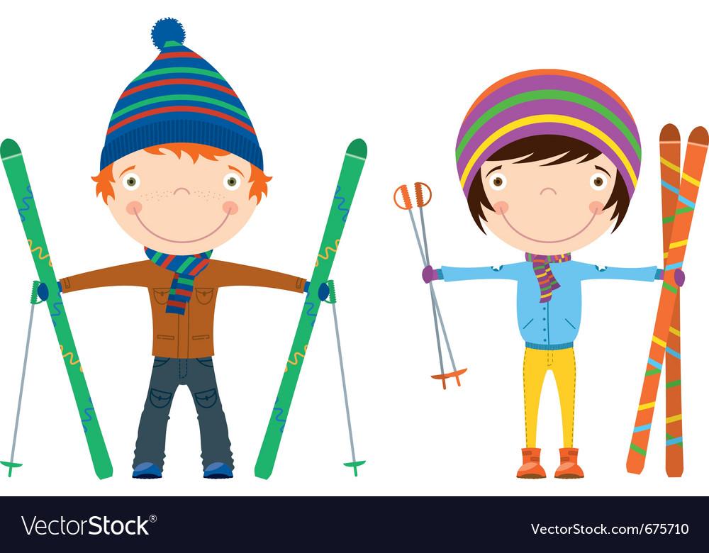 Winter ski kids vector