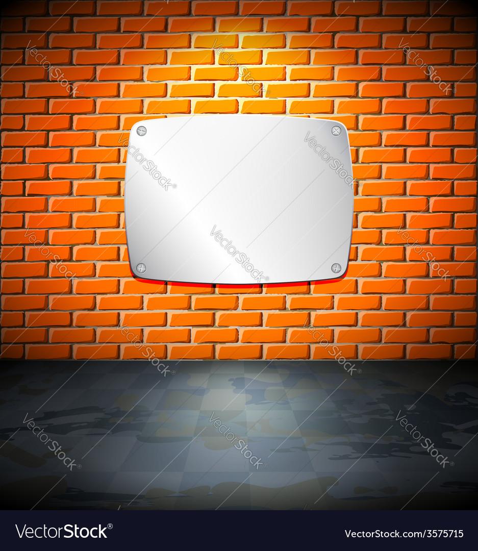 Metal screen on the brick wall vector