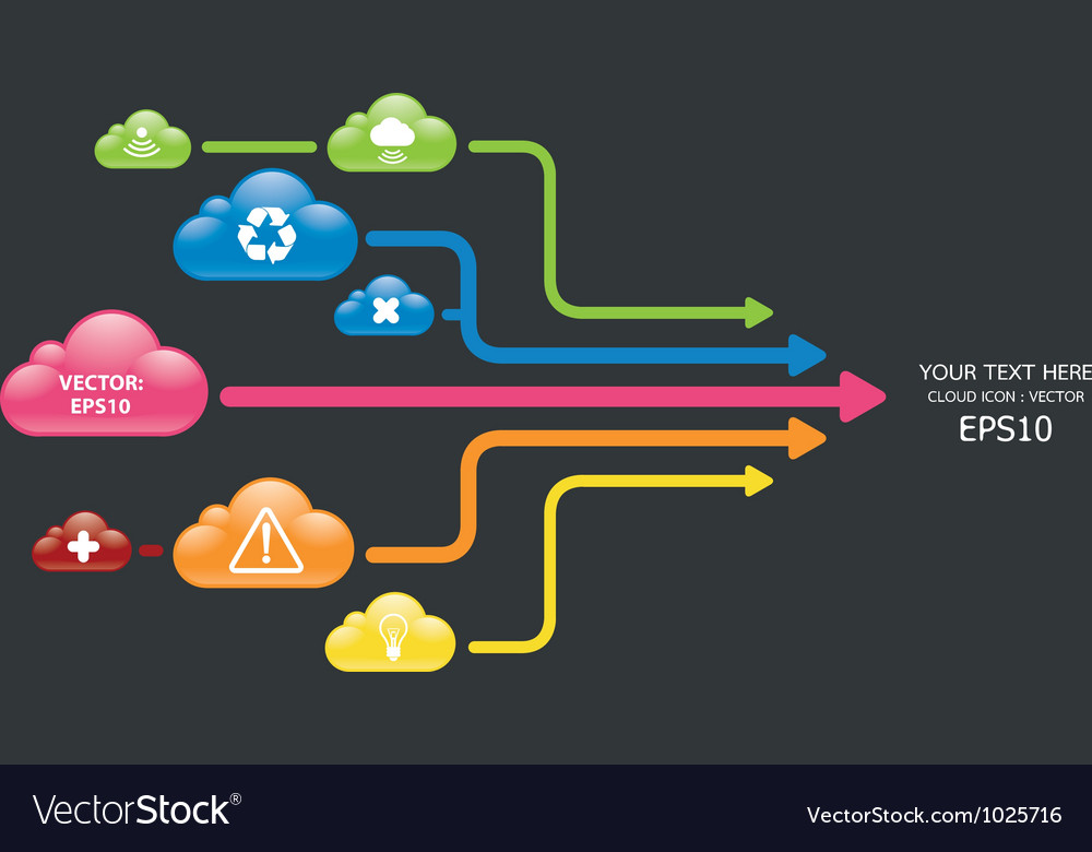 Cloud color arrow graph vector