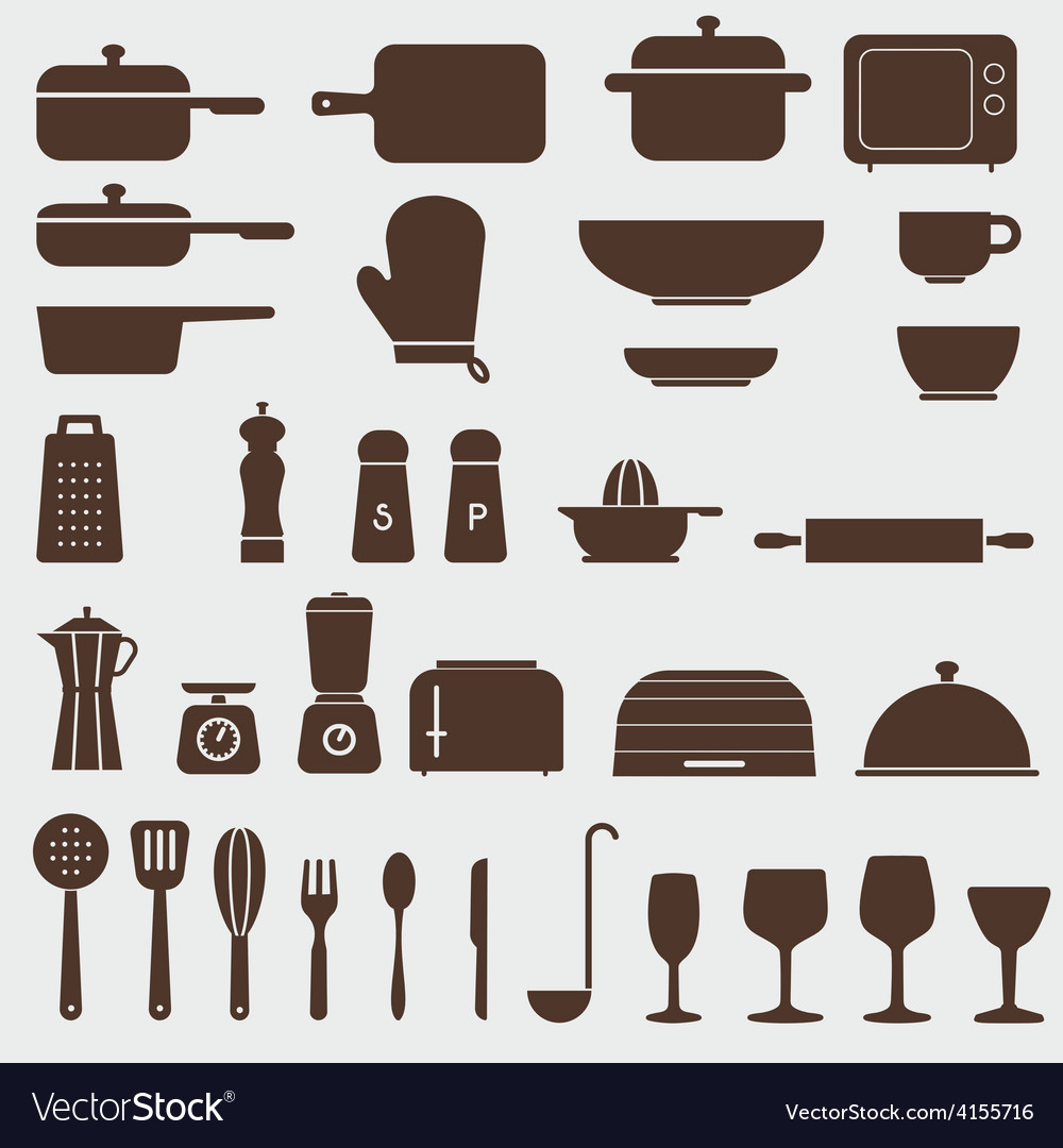 Kitchen icon set graphics vector