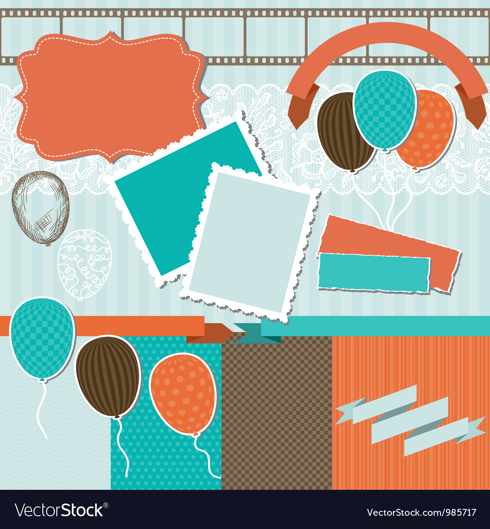 Scrapbook design elements vector