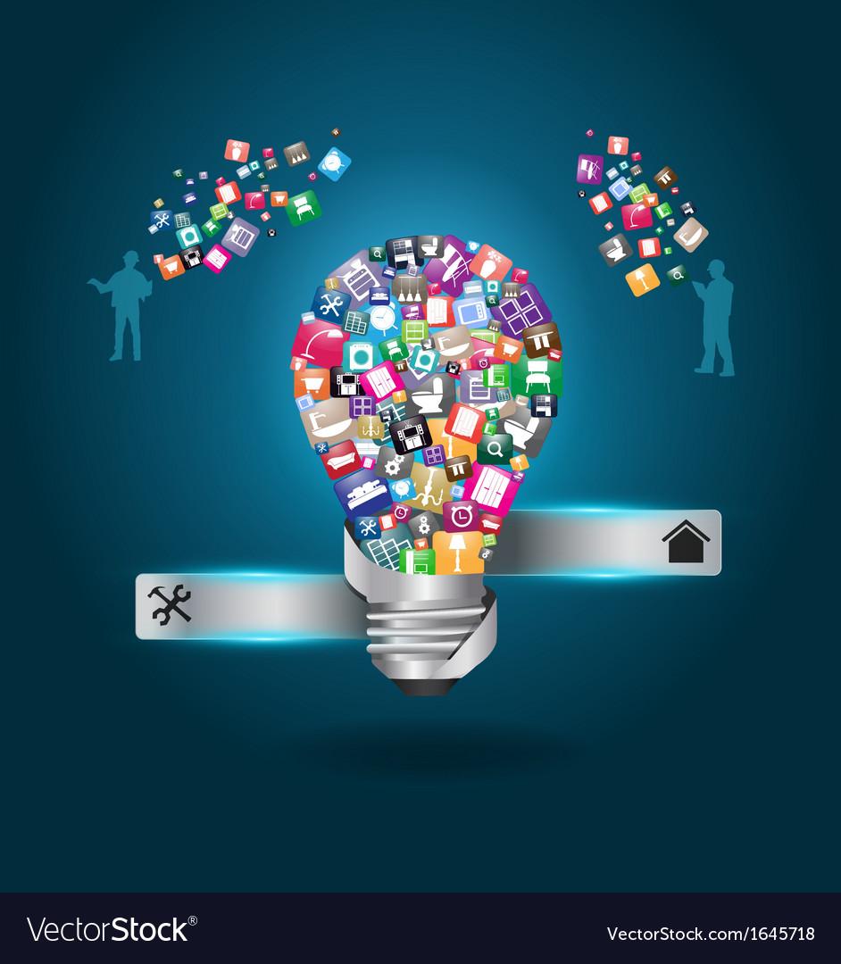 Creative light bulb with home appliances vector