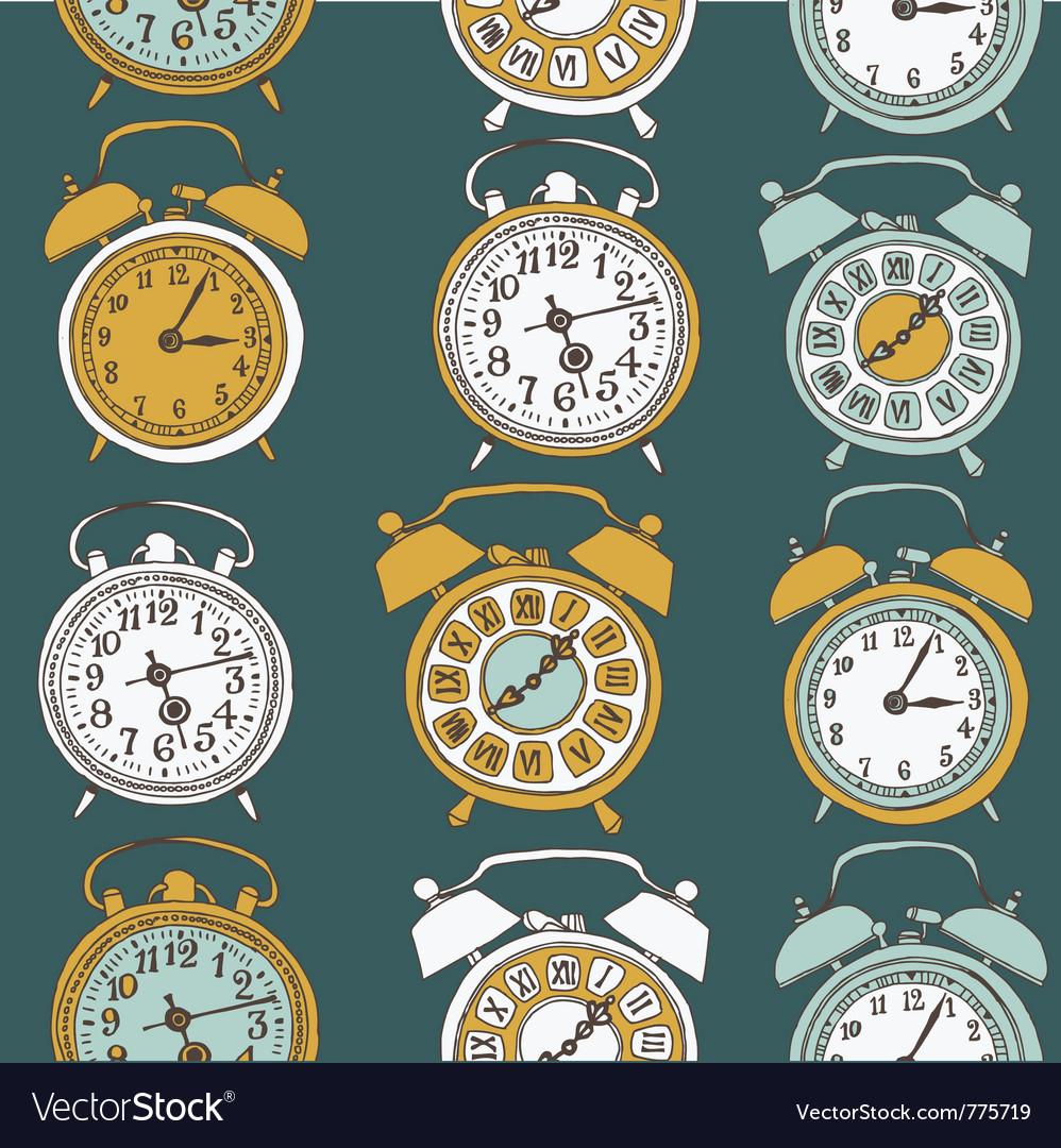 Clock drawing seamless vector