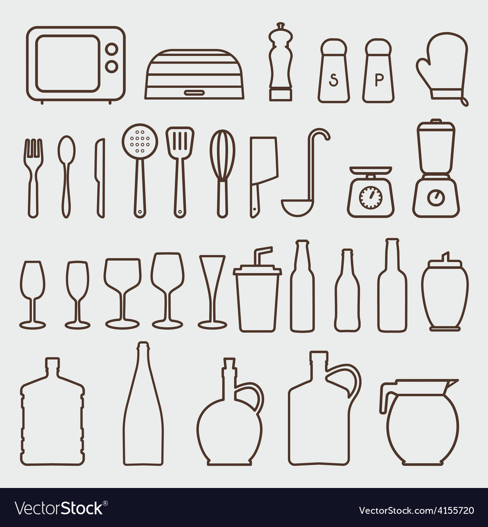 Outline kitchen icon set graphics vector