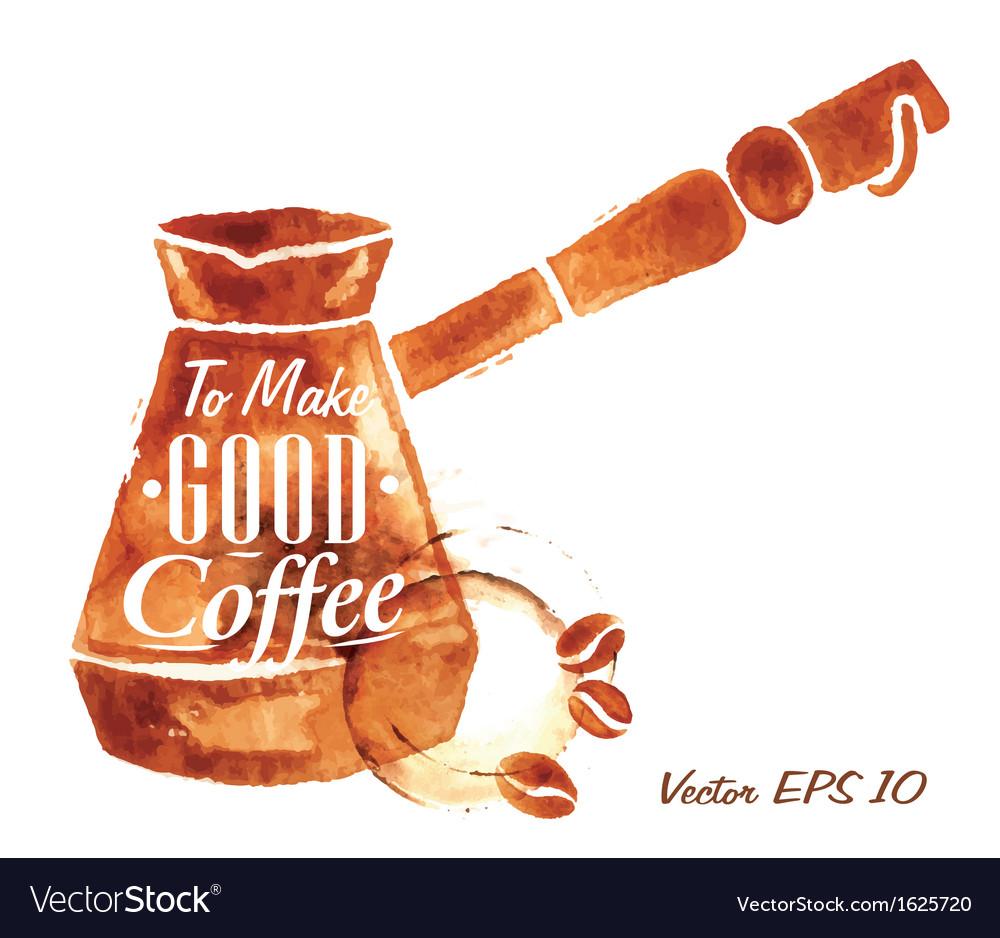 Traces coffee turkish coffee pot vector
