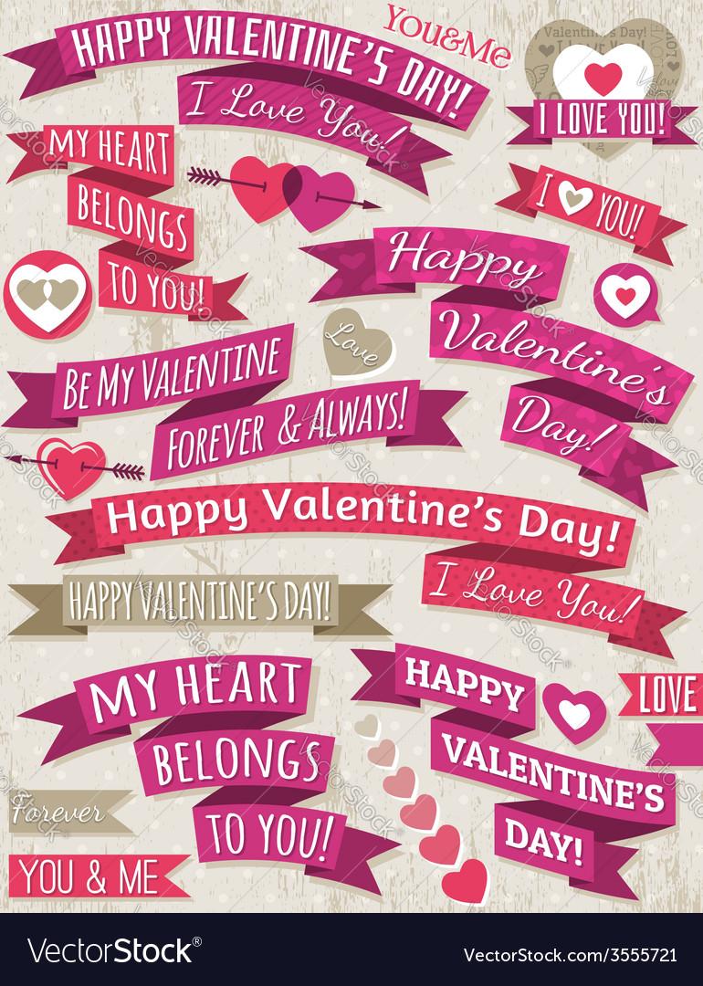 Set of ribbon valentines design vector