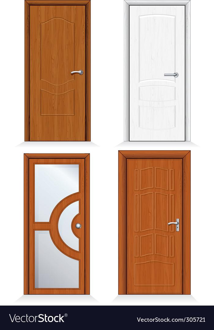 Wooden door set vector
