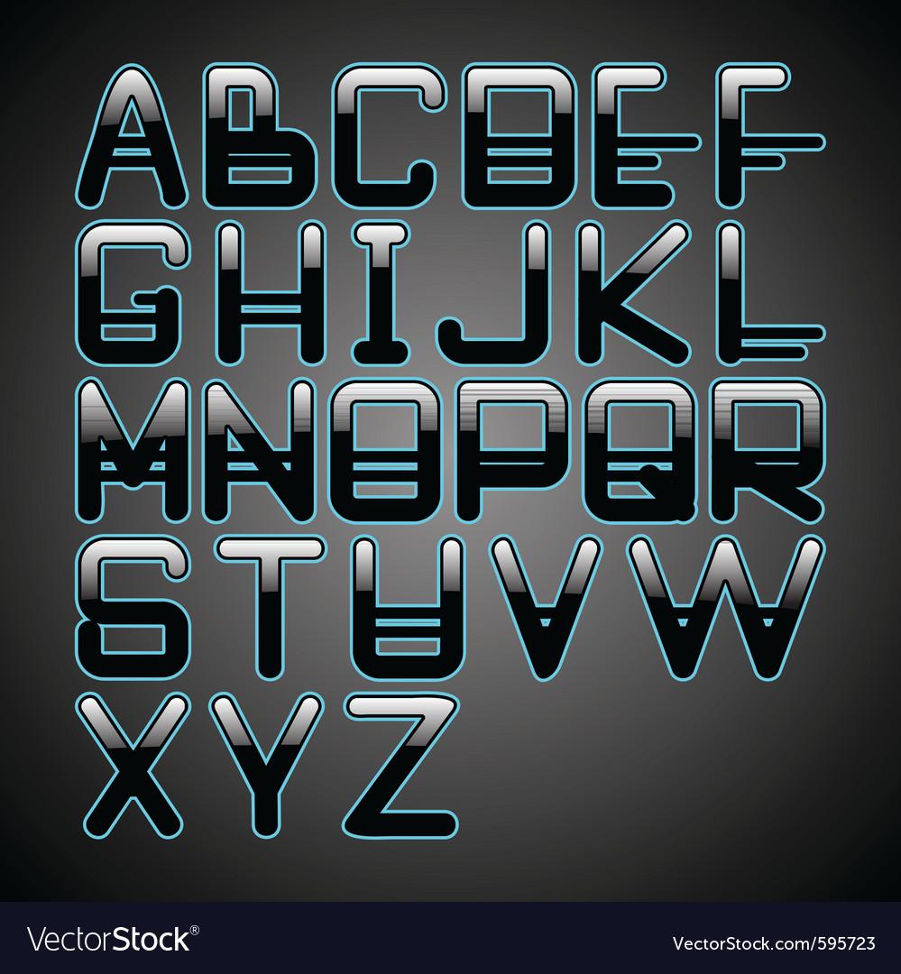 Blue glow font vector
