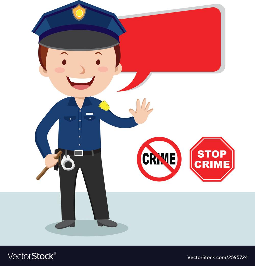 Cartoon police officer policeman stop crime vector