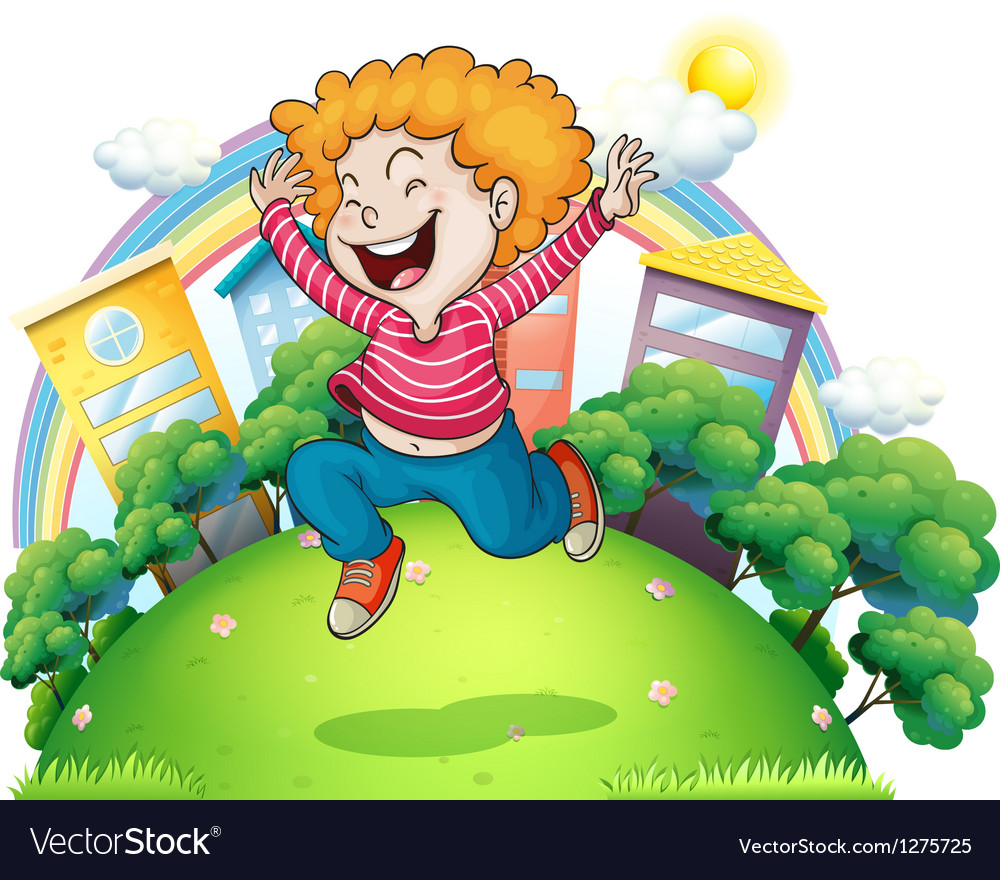 A young gentleman jumping for joy at the hill vector