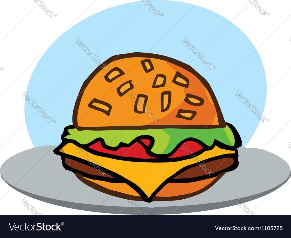 Cartoon cheeseburger with lettuce vector