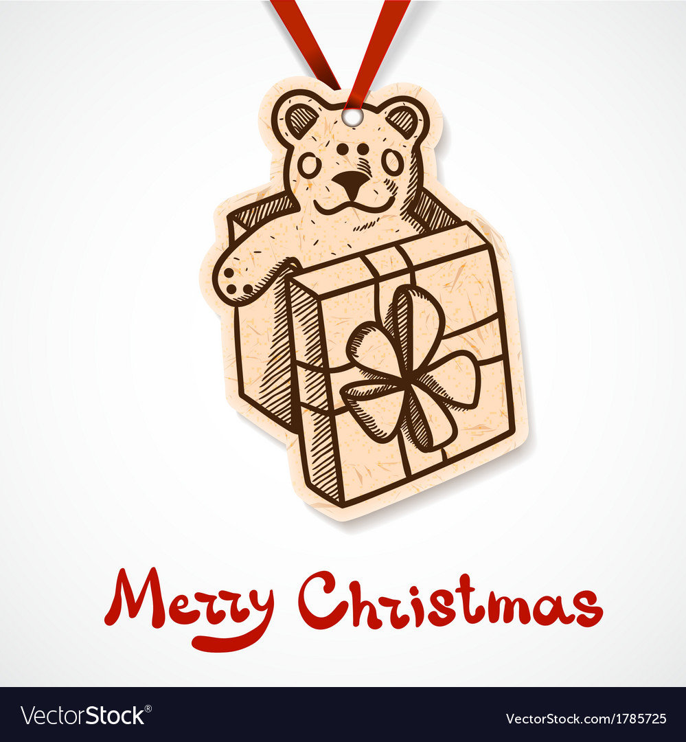 Present box with teddy bear paper label on ribbon vector