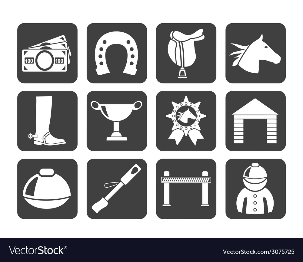 Silhouette horse racing and gambling icons vector