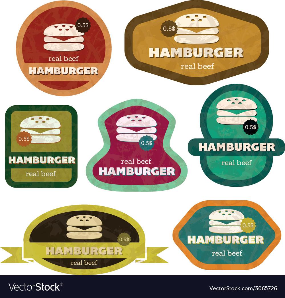 Retro hamburgers vector