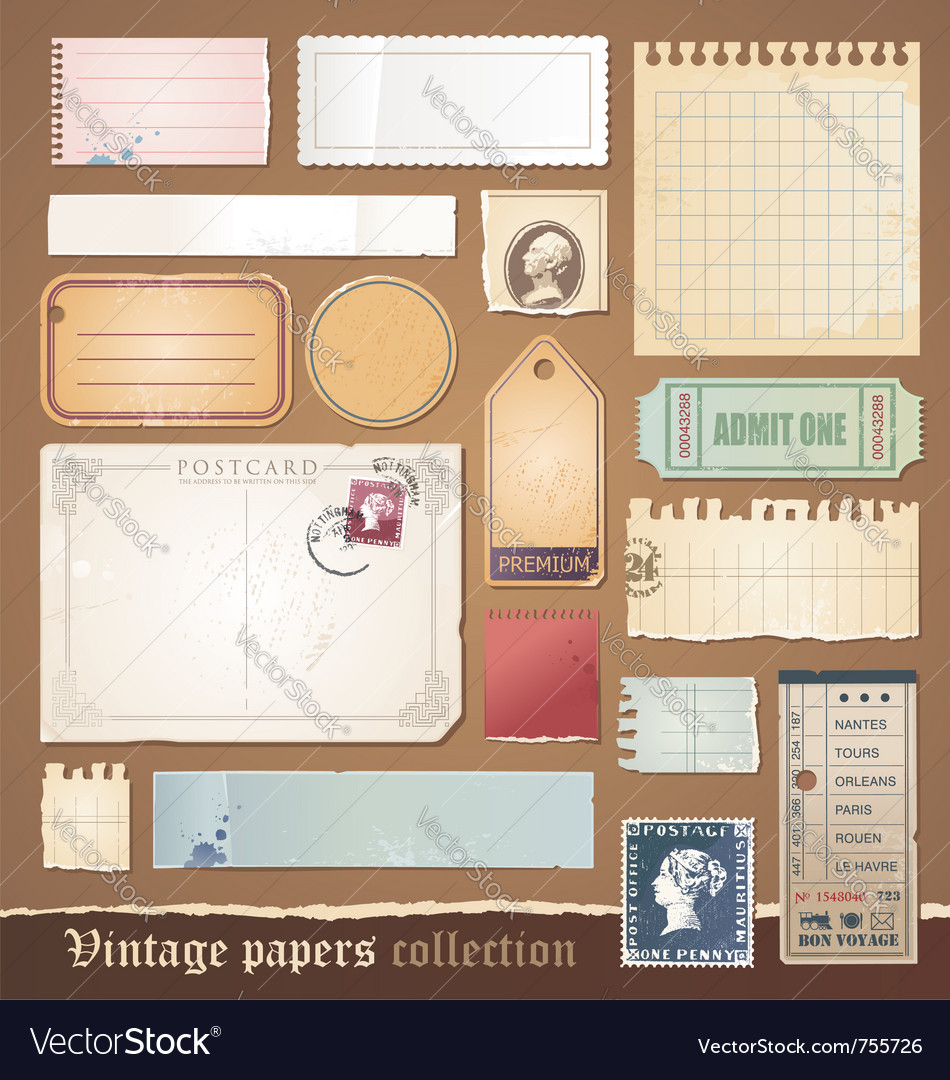 Vintage papers collection vector