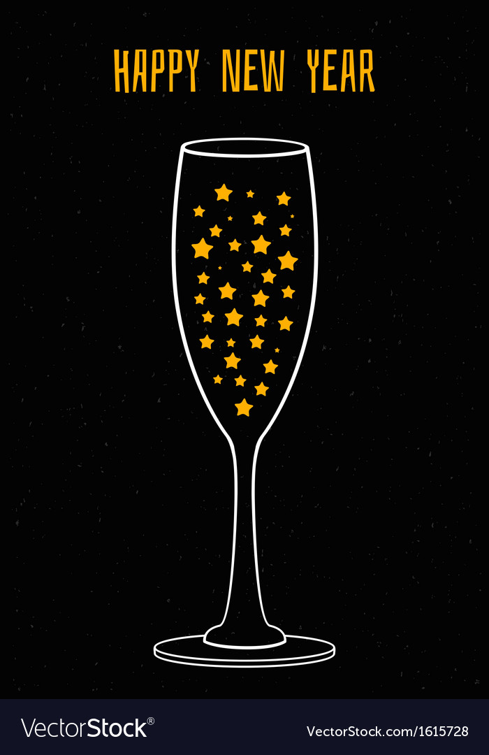 Glass of champagne with the stars vector