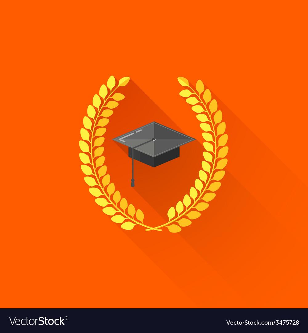 Graduate cap with laurel wreaths educational vector