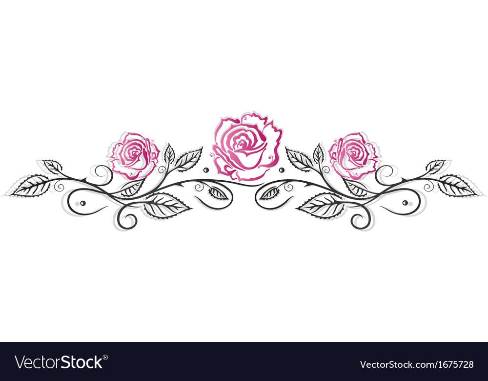 Roses vintage border vector