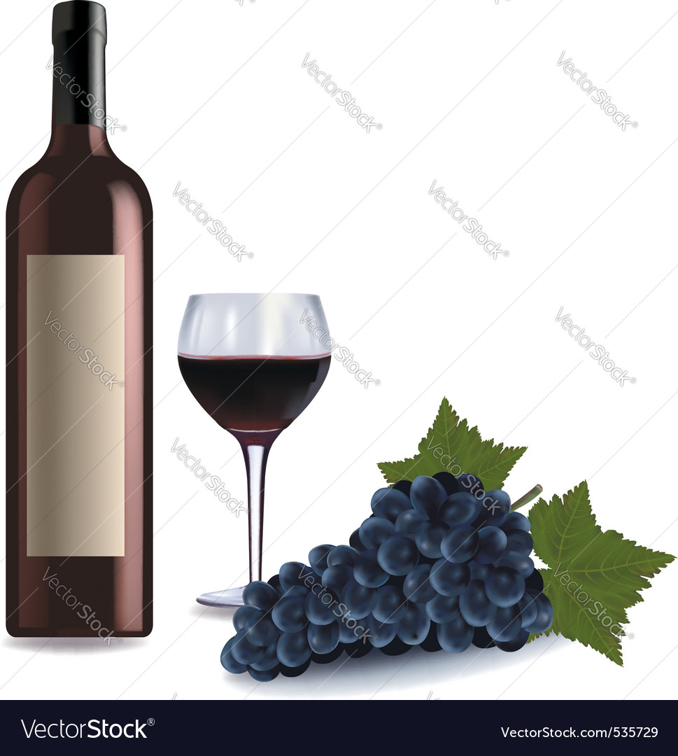 A wine bottle and glass vector