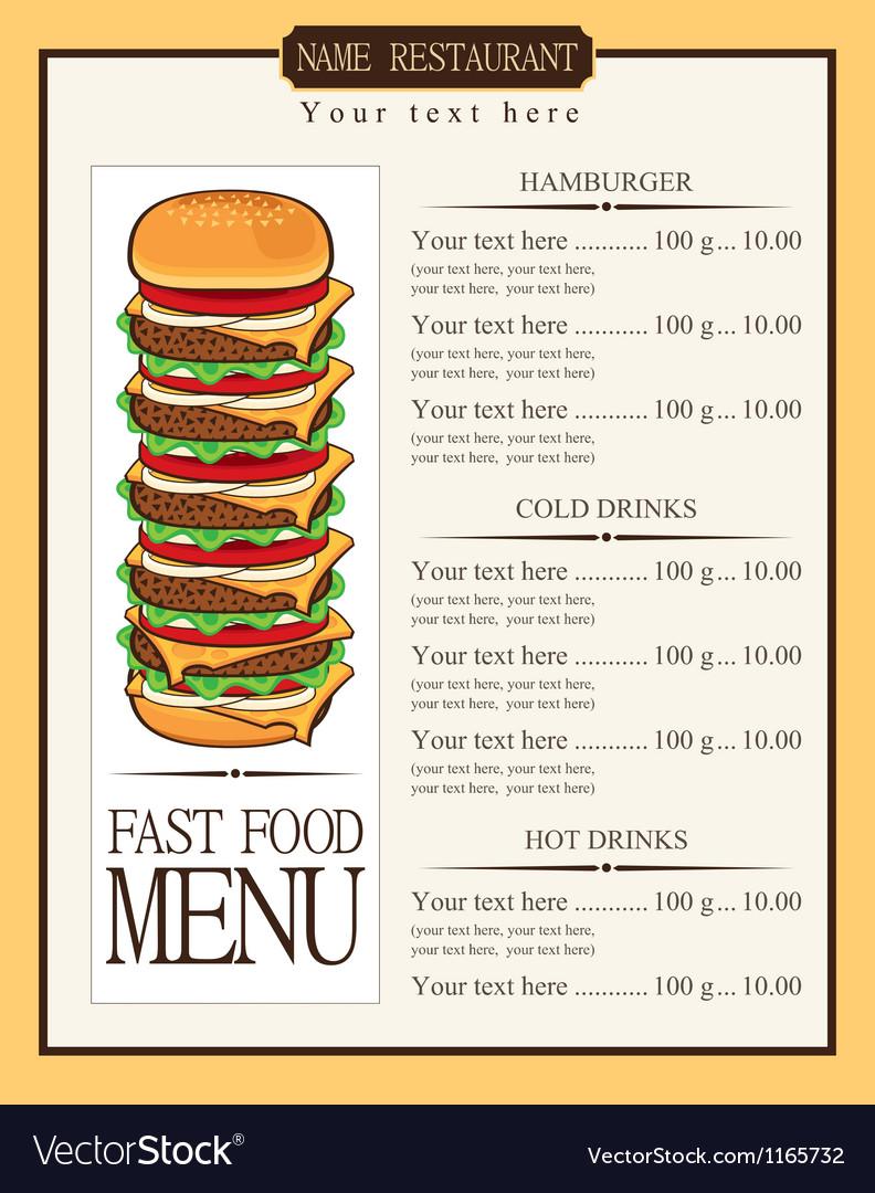 Menu for fast food vector