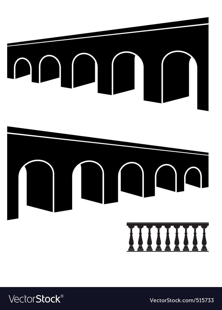Bridge black silhouettes vector
