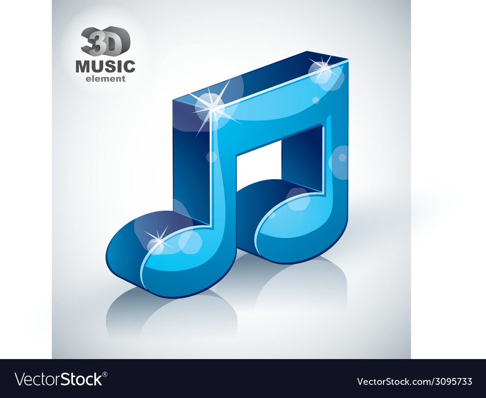 Funky blue musical note 3d modern style icon vector