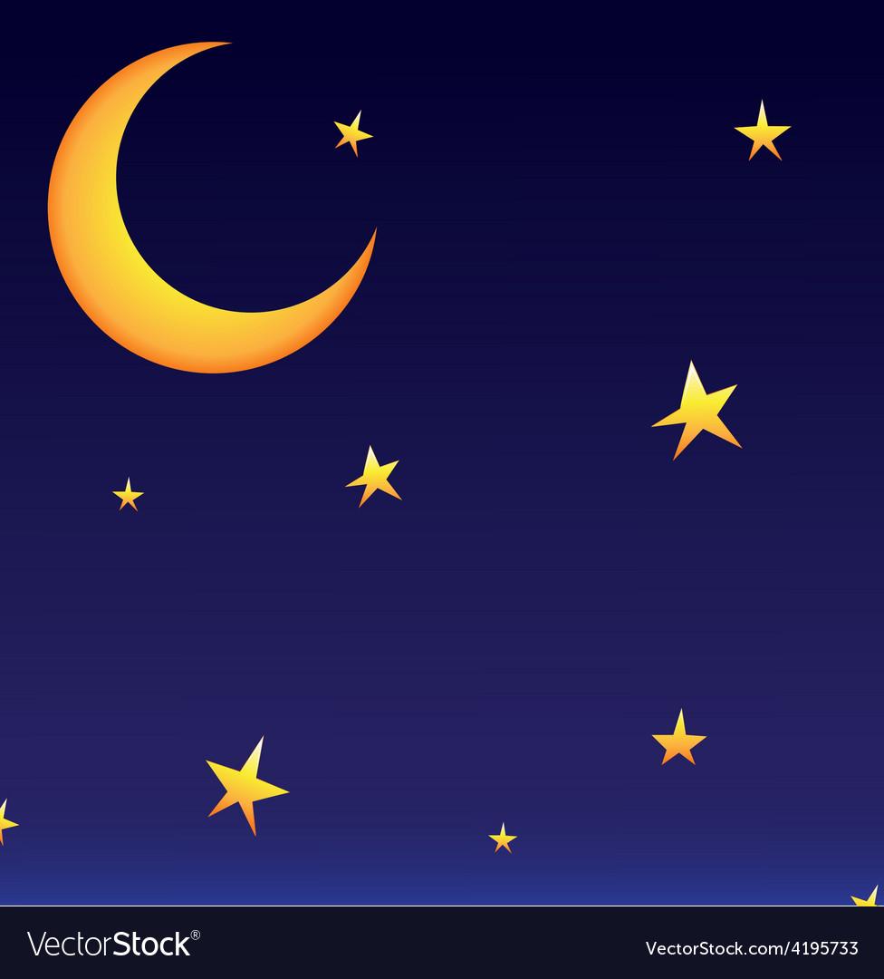 Moon whit stars vector