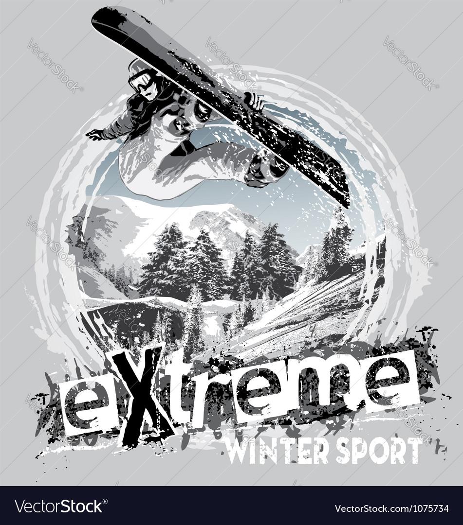 Winter sport snowboard vector