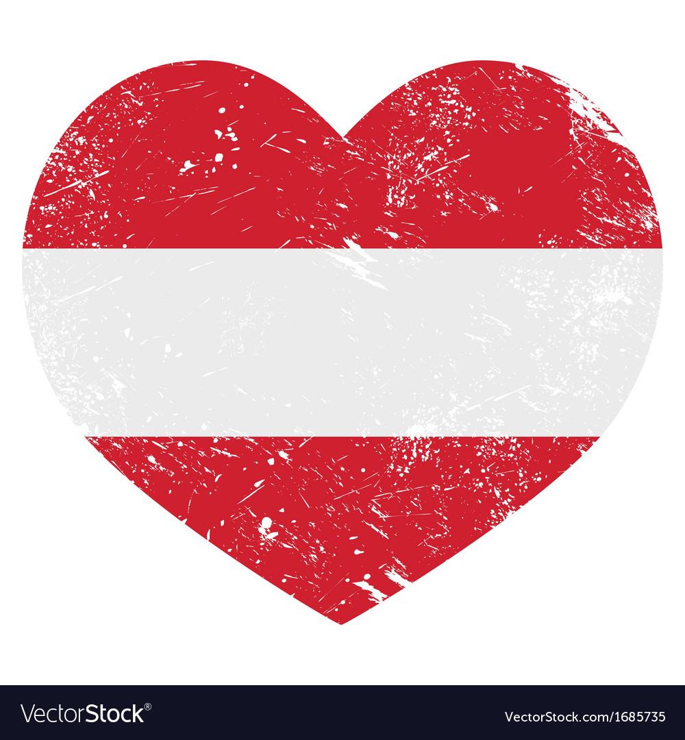 Austria heart retro flag vector