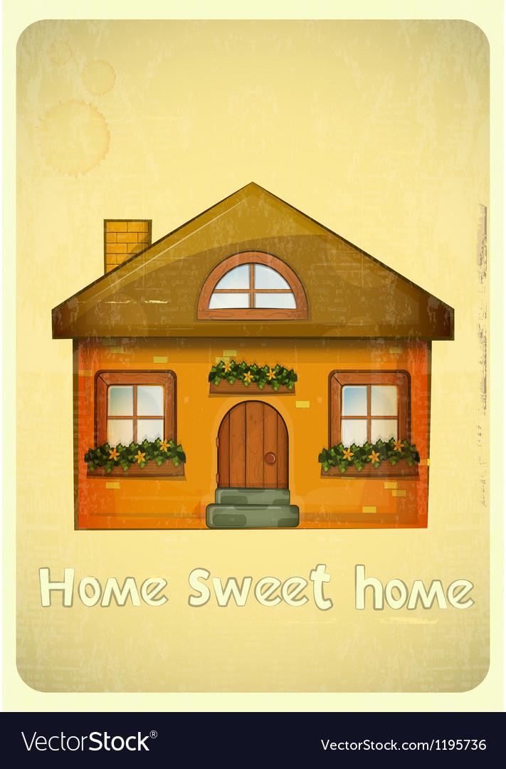 Cartoon houses postcard vector