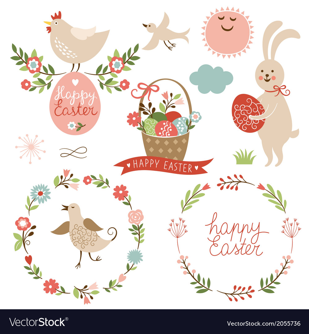 Happy easter graphic elements vector