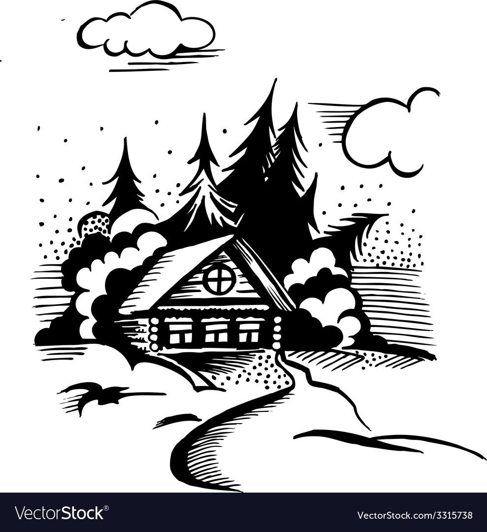 Cabin in the woods vector