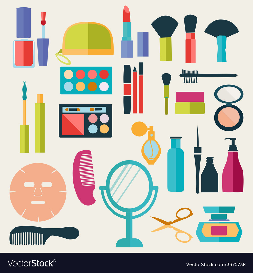 Make-up-beauty cosmetic icons-set vector