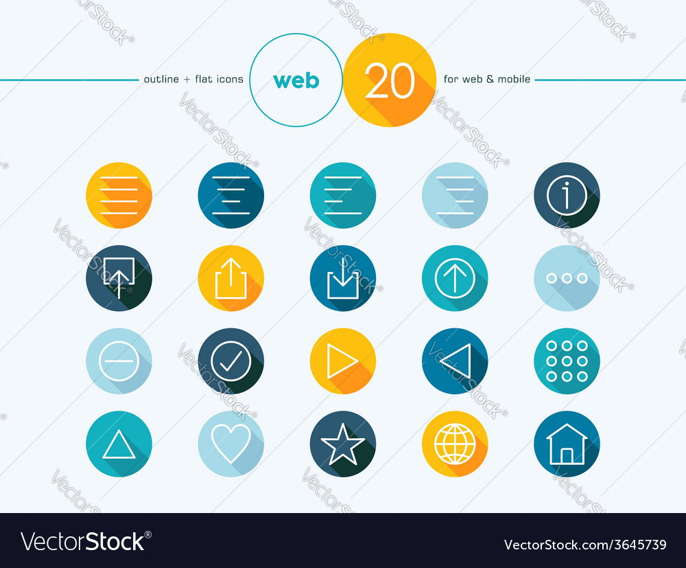 Web outline style flat icons set vector