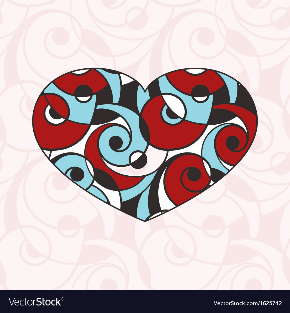 Heart on seamless abstract monochrome pattern vector