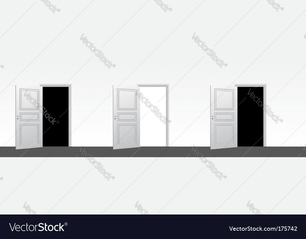 Three doors open vector